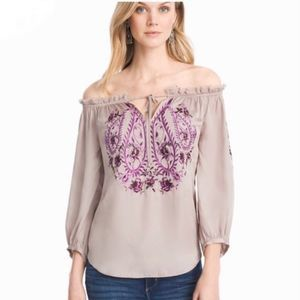 WHBM Off Shoulder Embroidered Blouse Marie NWT